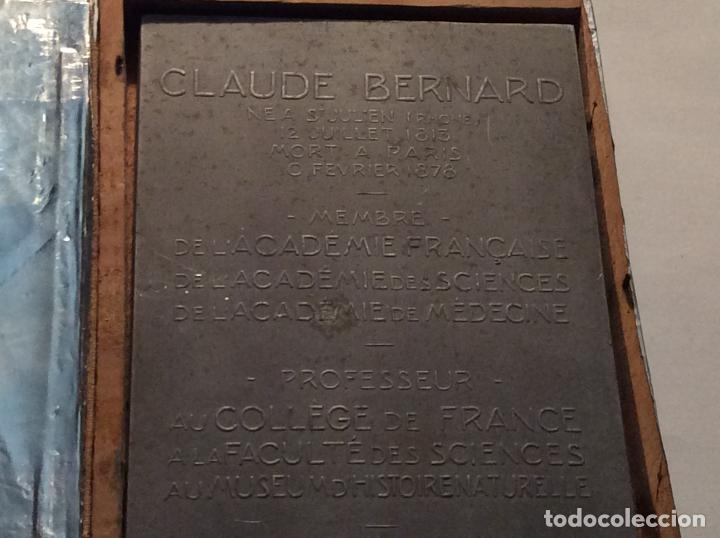 Medallas históricas: Medalla-placa Claude Bernard personaje histórico francés. - Foto 3 - 136980654