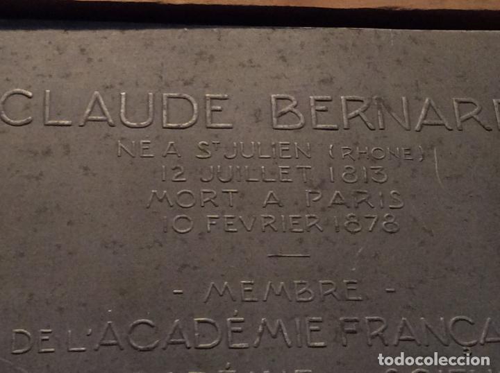 Medallas históricas: Medalla-placa Claude Bernard personaje histórico francés. - Foto 4 - 136980654