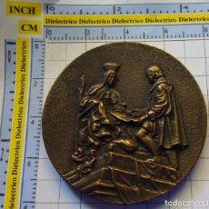 Medallas históricas: MEDALLA MEDALLÓN BRONCE 490 ANIVERSARIO CAPITULACIONES DE SANTA FE. GRANADA 1982. 200 GR . Lote 138972262