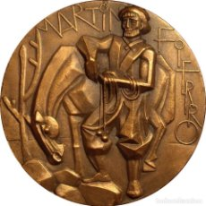 Medallas históricas: ESPAÑA. MEDALLA F.N.M.T. SERIE LITERATURA HISPANA. DEDICADA A MARTÍN FIERRO. 1.968. Lote 140565194