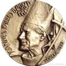 Medallas históricas: MEDALLA JUAN PABLO II. XLV CONGRESO EUCARISTICO INTERNACIONAL. SEVILLA 1993. C/ ESTUCHE. Lote 140582570