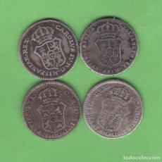 Medallas históricas: LOTE 4 MEDALLAS DE PROCLAMACION CARLOS IV E ISABEL II 15MM. Lote 140857858