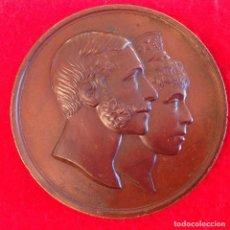 Medallas históricas: MEDALLA DE BRONCE DE LA BODA REAL DE ALFONSO XII Y MARÍA CRISTINA, 1879, DE 71 MM. DE DIÁMETRO,. Lote 141328014