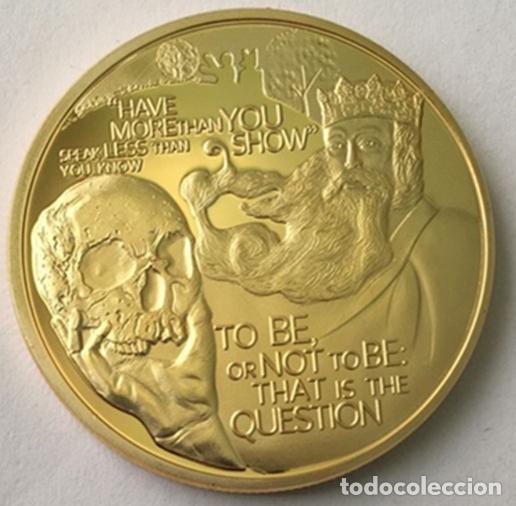 BONITA MONEDA DE WILLIAM SHAKESPEARE 450TH ANIVERSARIO CON FRASES Y FIRMA (Numismática - Medallería - Histórica)