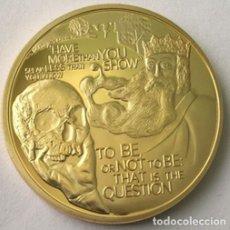 Medallas históricas: BONITA MONEDA DE WILLIAM SHAKESPEARE 450TH ANIVERSARIO CON FRASES Y FIRMA. Lote 64699195