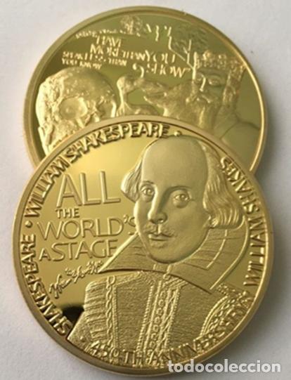 Medallas históricas: BONITA MONEDA DE WILLIAM SHAKESPEARE 450TH ANIVERSARIO CON FRASES Y FIRMA - Foto 2 - 64699195