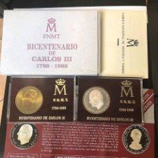 Medallas históricas: MEDALLAS BICENTENARIO CARLOS III PLATA Y BRONCE. Lote 143024558