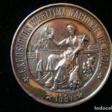 Medallas históricas: MEDALLA EXPOSICION MARITIMA DE CADIZ DE 1887 ( 157 GRAMOS PLATA )-JOYERIA ESTRUGO-CADIZ.. Lote 143733502