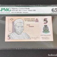 Medallas históricas: NIGERIA -BILLETE- 5 NAIRA 2013 CERTIFICADO ( PMG 65 EPQ ) SC UNC ( K090 ). Lote 145191646