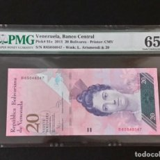 Historical Medals - VENEZUELA -BILLETE- 20 BOLIVARES 2011 CERTIFICADO ( PMG 65 EPQ ) SC UNC ( K091 ) - 145192322
