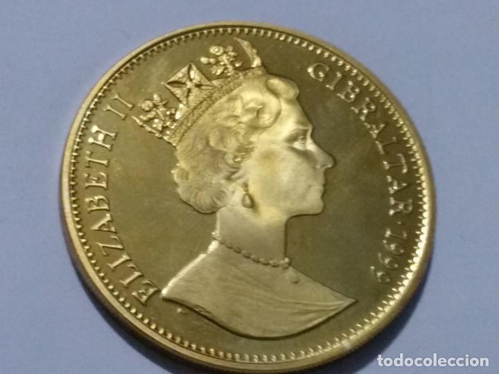Medallas históricas: GIBRALTAR -MONEDA- 1 CROWN 1999 PLATA DORADA- PRUEBA (28,50 GR. ) ) SC UNC ( K119 ) - Foto 2 - 145442378