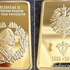 Medallas históricas: LINGOTE BAÑADO ORO 24 KT. DEL ULTIMO KEISER ALEMAN Y FECHA DE SU REINADO. Lote 238729915