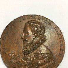 Medallas históricas: MEDALLA O MEDALLON. III CENTENARIO PUBLICACION DEL QUIJOTE. 1605 - 1905 (6 CM). Lote 150875982