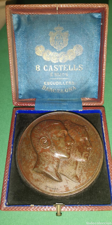 MEDALLA MEDALLÓN CONMEMORATIVO DE LAS BODAS DE ALFONSO 12 Y MARÍA DE LAS MERCEDES 1878 CASTELL (Numismática - Medallería - Histórica)