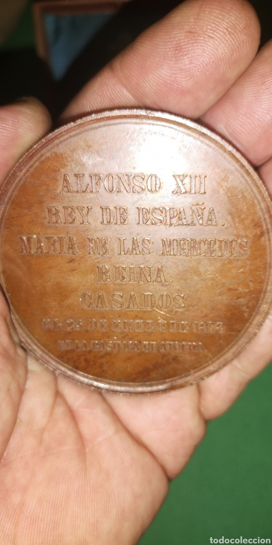 Medallas históricas: Medalla medallón conmemorativo de las bodas de Alfonso 12 y María de las Mercedes 1878 Castell - Foto 3 - 152849781