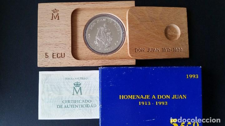 ESPAÑA - MONEDA - 5 ECU 1993- HOMENAJE A DON JUAN CARLOS- PLATA SC UNC ( L015 ) (Numismática - Medallería - Histórica)