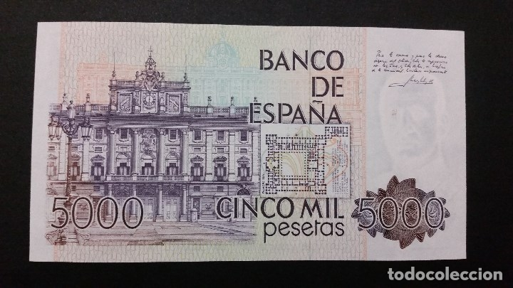 Medallas históricas: ESPAÑA - BILLETE - 5000 PESETAS 1979 ( SERIE 3T ) SC UNC ( T026 ) - Foto 2 - 154019406