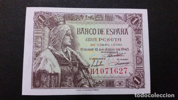 ESPAÑA - BILLETE - 1 PESETA 1945 ( SERIE H ) SC UNC ( T027 ) (Numismática - Medallería - Histórica)