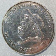 Medalhas históricas: MEDALLA - PRIMER CENTENARIO DEL NATALICIO DE PANCHO VILLA. DURANGO 1978 - PLATA 25 GR. 38 MM.. Lote 155969962