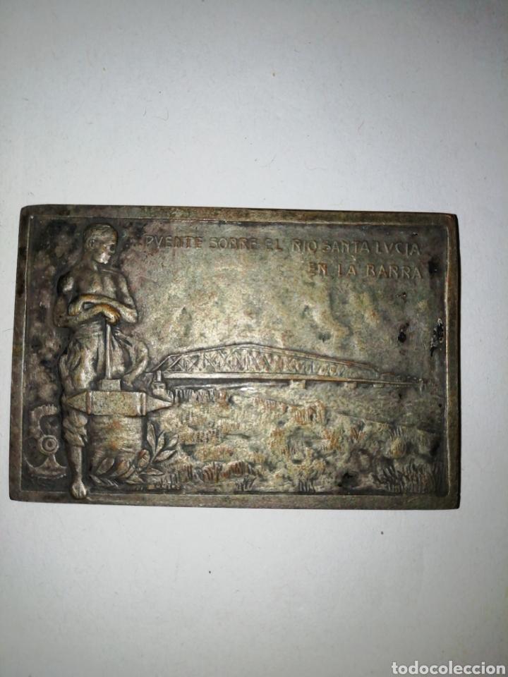 1925 INAUGURACION DEL PUENTE CARRETERO SOBRE EL RIO SANTA LUCÍA MCMXXV (Numismática - Medallería - Histórica)