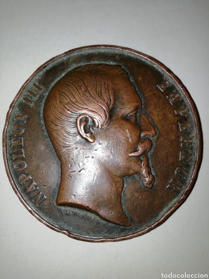 NAPOLEÓN III. (COLLIGNON 1778-1). ANV.: NAPOLEON III EMPEREUR. REV.: INAUGURÉE EN PRESENCE.... (Numismática - Medallería - Histórica)