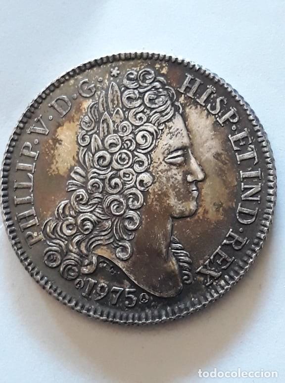 Medallas históricas: NOVENA CONVENCION NUMISMATICA PHILIP V D G HISP ET IND REX 1975 *PLATA - S/C* - Foto 2 - 159765318