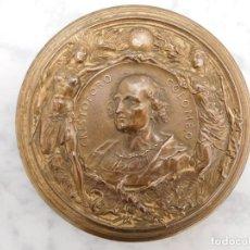 Medallas históricas: IMPRESIONANTE MEDALLA DE BRONCE DE CRISTOBAL COLÓN AÑO 1892. Lote 160025078