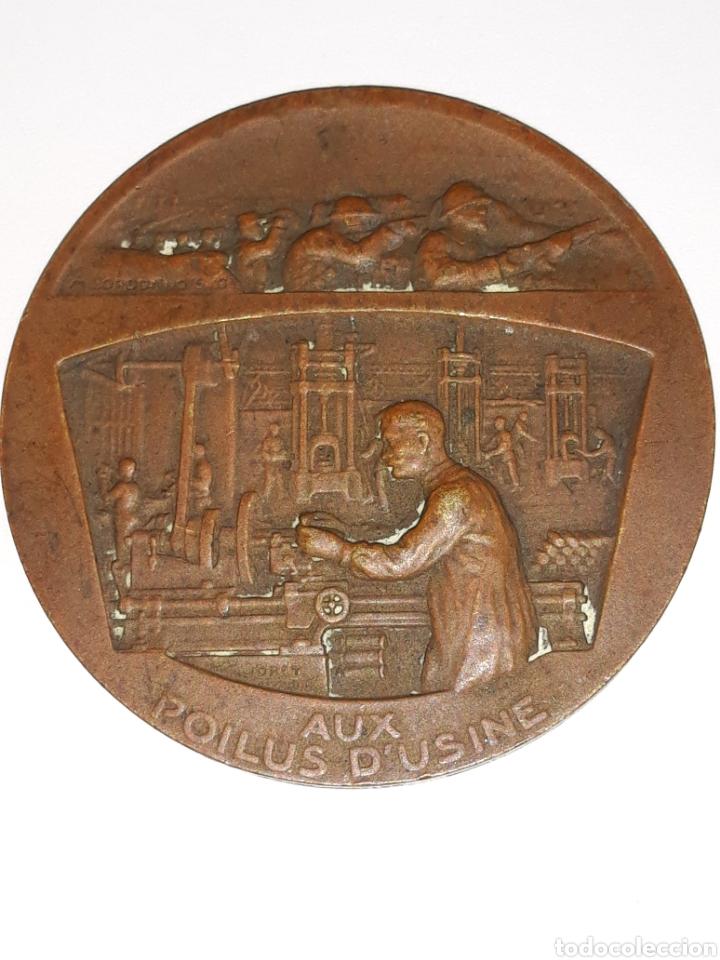 WW1 MEDALLA EN BRONCE .AUX POILUS D'USINE.FRANCIA (Numismática - Medallería - Histórica)