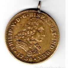 Medallas históricas: ANTIGUA MEDALLA IMITACION MONEDA 8 ESCUDOS DE ORO,FELIPE V, AÑO 1736, MEJICO,EN BRONCE,AÑOS 50/60. Lote 160612174