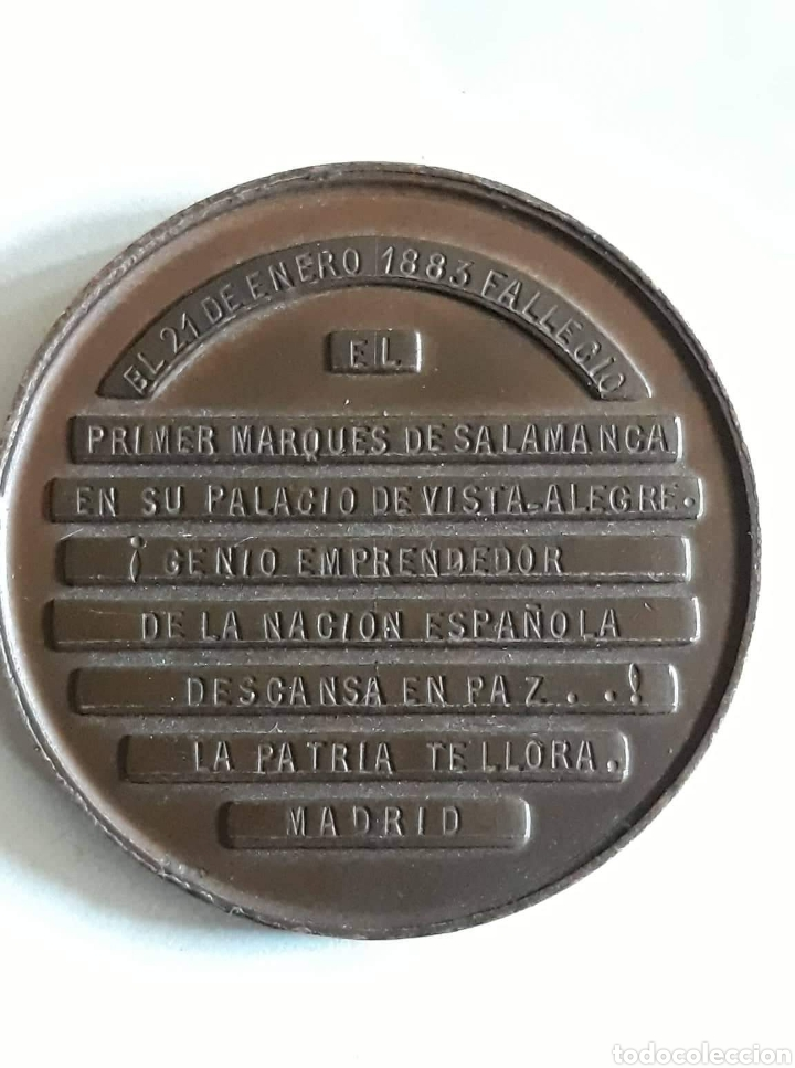 Medallas históricas: Medalla dedidacada al fallecimiento del primer marques de Salamanca 21 enero 1883 - Foto 2 - 159101638