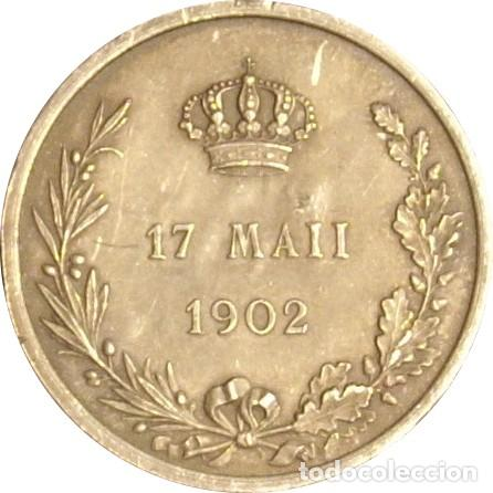 Medallas históricas: ESPAÑA. MEDALLA CONMEMORATIVA MAYORÍA DE EDAD Y CORONACIÓN DE ALFONSO XIII. 1.902. PLATA - Foto 2 - 161437982