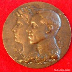 Medallas históricas: MEDALLA DE LA EXPOSICIÓN HISPANO - FRANCESA, ZARAGOZA 1908, BRONCE DE 6 CM DIAMETRO, FIRMADA ANDUIZA. Lote 162933190