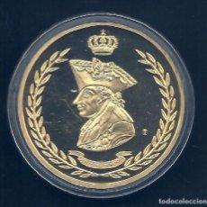 Medallas históricas: ALEMANIA - FRIEDRICH II EL GRANDE CON PERROS - MIRE MIS OTROS LOTES - MEDALLA BAÑADO EN ORO. Lote 164269926