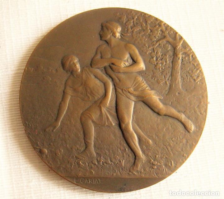 MEDALLA FIRMADA EN BRONCE LUCIEN CARIAT - CONMEMORATIVA JUEGOS ATLETICOS JUNIO 1919 (Numismática - Medallería - Histórica)