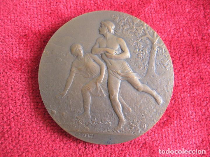 Medallas históricas: MEDALLA FIRMADA EN BRONCE LUCIEN CARIAT - CONMEMORATIVA JUEGOS ATLETICOS JUNIO 1919 - Foto 6 - 164897586