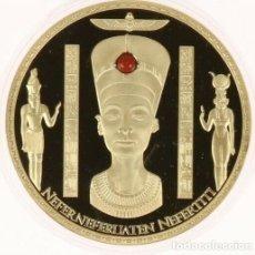 Medallas históricas: BONITO MEDALLON XXL CON ORO Y PIEDRA PRECIOSA JASPE DE LA REINA DE EGIPTO NEFERTITI EDICION LIMITADA. Lote 235099555