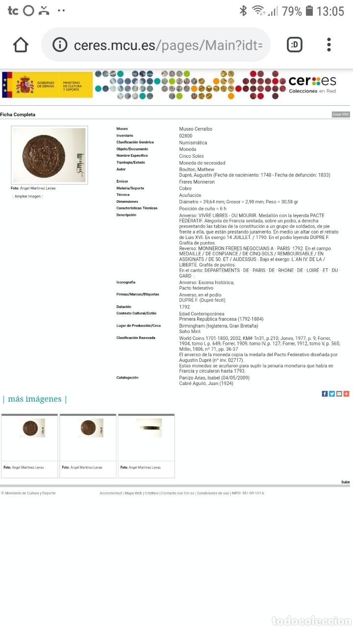 Medallas históricas: 2 Monedas 5 soles de pacto federativo 14 julio 1790 pvp/und - Foto 3 - 160360636