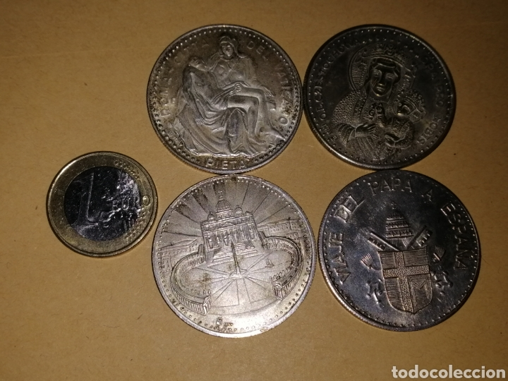 Medallas históricas: 4 monedas diferentes papa juan pablo ll, una del viaje del papa a españa - Foto 5 - 125234334