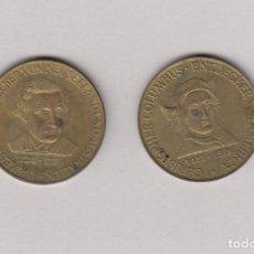 Medallas históricas: ALEMANIA.2 MEDALLAS DE GRANDES NAVEGANTES DE LA HISTORIA.CRISTOBAL COLÓN Y JAMES COOK.. Lote 168733588