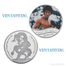 Medallas históricas: MEDALLA TIPO MONEDA PLATA 45 ANIVERSARIO DE BRUCE LEE - DRAGON - NºA3. Lote 170038668