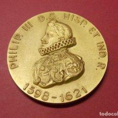 Medallas históricas: MEDALLA REY FELIPE III - EN BRONCE DORADO - CALICO BARCELONA 1965 - REYES DE ESPAÑA... L92. Lote 170715195