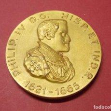 Medallas históricas: MEDALLA REY FELIPE IV - EN BRONCE DORADO - CALICO BARCELONA 1965 - REYES DE ESPAÑA... L93. Lote 170715290