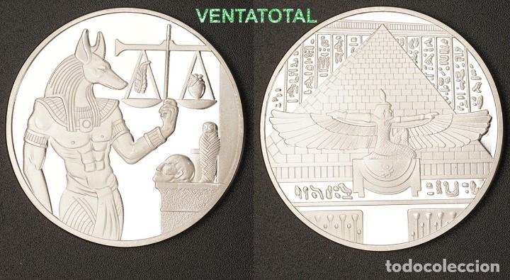 MEDALLA PLATA TIPO MONEDA HOMENAJE A ANUBIS DIOS DE LA MUERTE DEL ANTIGUO EGIPTO-PESA 29 GRA -Nº3 (Numismática - Medallería - Histórica)