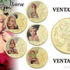 Medallas históricas: COLECCION DE 5 MEDALLAS TIPO MONEDA ORO 24 KILATES ANIVERSARIO DE MARILYN MONROE - Nº1. Lote 171542374