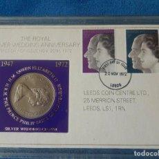 Medallas históricas: PRIMER-DIA-DE-EMISION-DE-LA-REAL-CORONA-DE-PLATA-ANIVERSARIO-. Lote 171592664