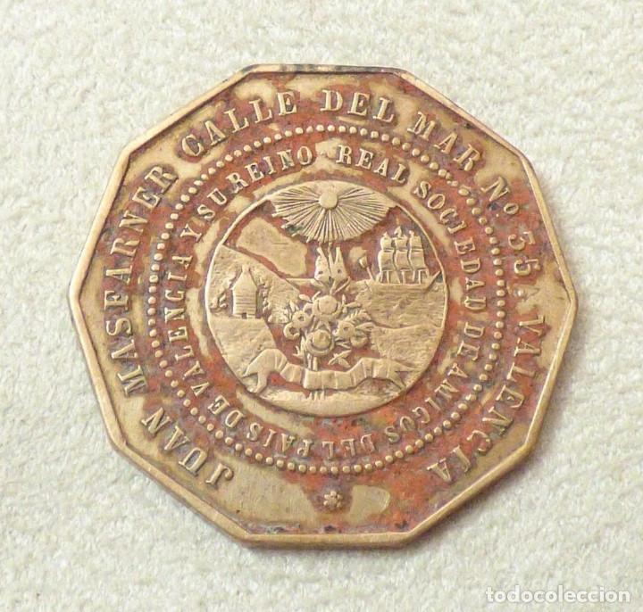 Medallas históricas: token s. XIX Juan Masfarner guantero de cámara Sociedad de Amigos del Pais Valencia 25 mm - Foto 2 - 174607603
