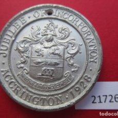 Medallas históricas: MEDALLA INGLATERRA JUBILEO (50 AÑOS) ACCRINGTON 1878 1928. Lote 177181947
