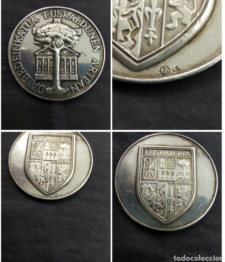 ANTIGUA MEDALLA VASCA ESCUDO EUSKALERRIA PAIS VASCO ARBOL GERNIKA LEYENDA PLATA PUNZONADA (Numismática - Medallería - Histórica)