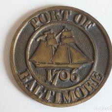 Medallas históricas: MEDALLA GRABADO DE BARCO. PORT OF BALTIMORE. MARYLAND, ESTADOS UNIDOS. AÑO 1706. 7 CM. Lote 178603422