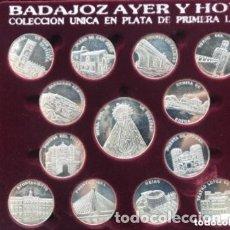 Medallas históricas: ANTIGUA COLECCIÓN MONEDAS BADAJOZ AYER Y HOY PLAYA PRIMERA LEY 925. Lote 182972488